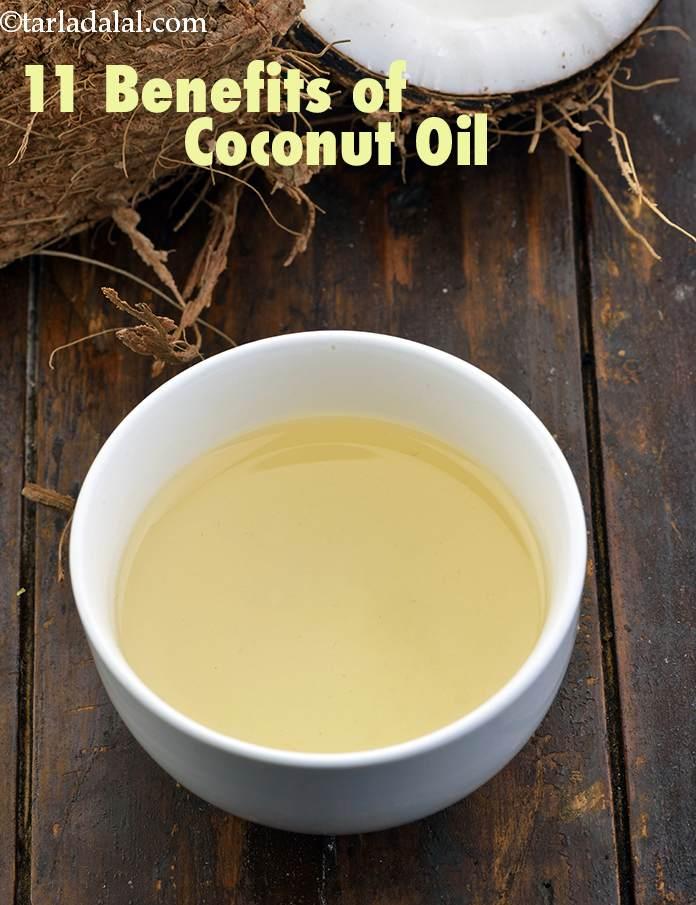 Health Benefits of Coconut Oil + Skin and Hair, Tarladalal com