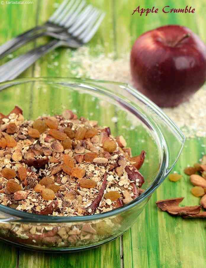 Stewed apple baked with a topping of muesli makes a great dessert. Make your own healthy version of muesli from ingredients like oats, wheat bran, almonds and walnuts, - all of which help lower cholesterol.