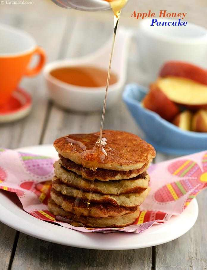 Apple Honey Pancakes, these delicious sweet pancakes will surely pleae your kids which can be presented while they are playing and singing rhymes!