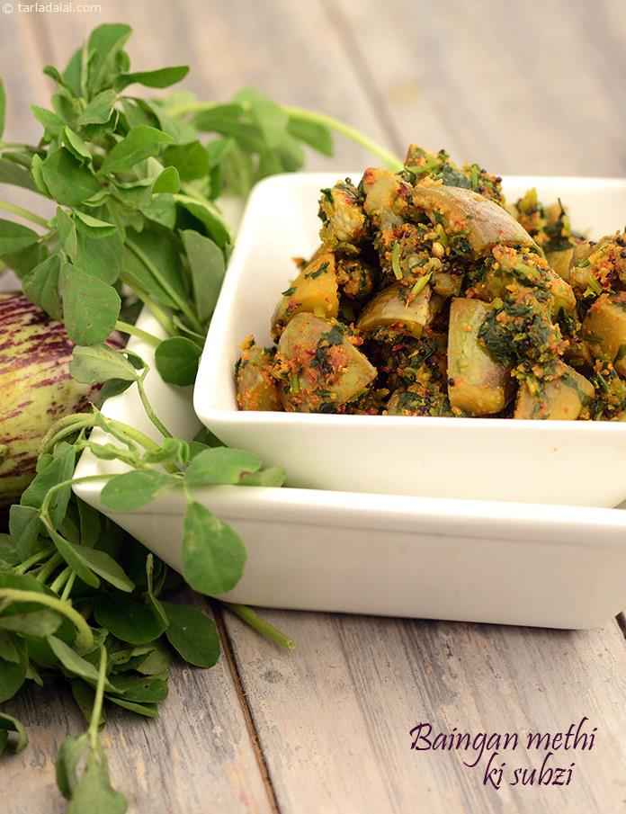 In the Baingan Methi ki Subzi, the humble brinjal combines with iron and calcium rich methi, and a freshly-prepared masala powder, to form a scrumptious dry subzi.