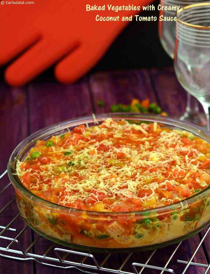 Baked Vegetables with Creamy Coconut and Tomato Sauce