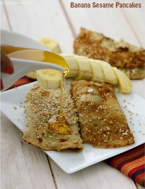 Banana Sesame Pancakes Recipe Low Cholesterol Recipes