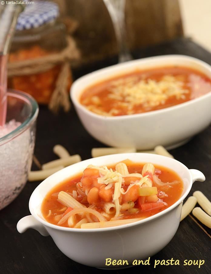 Bean and Pasta Soup, a dish with proud mediterranean origins, this soup is a winter warmer to be served with warm crusty bread and if you like, a slice of cheese. The addition of cream to the soup balances the acidic taste of the tomatoes.