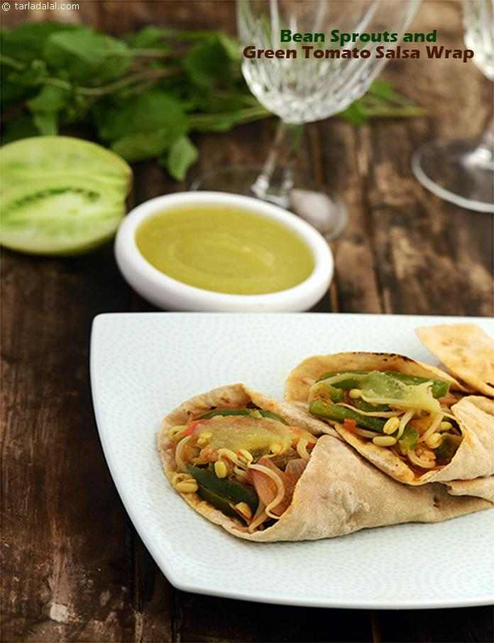 Bean Sprouts and Green Tomato Salsa Wrap