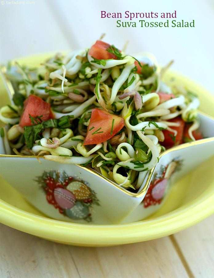 Bean Sprouts and Suva Tossed Salad, a light and colourful way to begin lunch! suva, tomatoes and bean sprouts combine beautifully with salt and lemon juice in this tangy, crunchy salad.