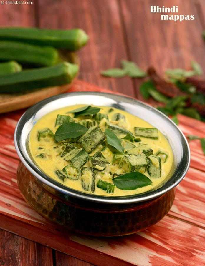 Bhindi Mappas, an assortment of pungent ingredients like ginger, garlic, curry leaves, etc., perk up the coconut milk, turning it from a mellow ingredient into a mouth-watering gravy for the ladies finger.