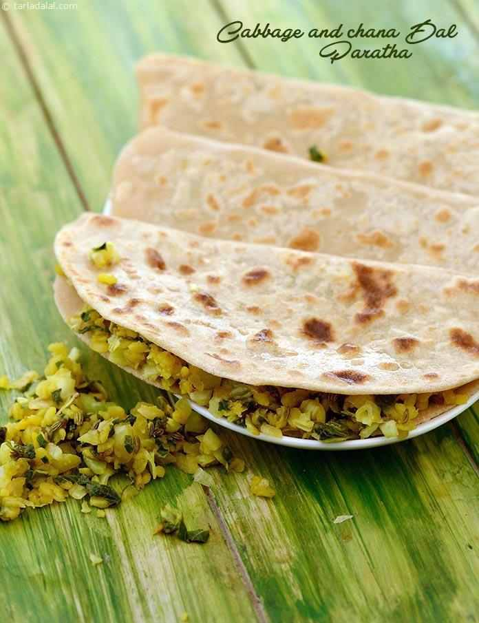Cabbage and dal paratha is a brilliant combination of cereals, pulses and vegetables. This balanced meal can be made more nutritious by replacing half the wheat flour with soya flour or nachni flour.