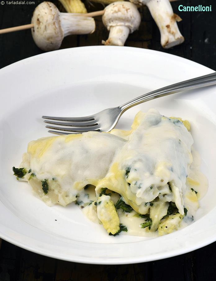 Cannelloni spinach and ricotta cannelloni recipe italian cannelloni spinach and ricotta cannelloni by tarla dalal forumfinder Image collections