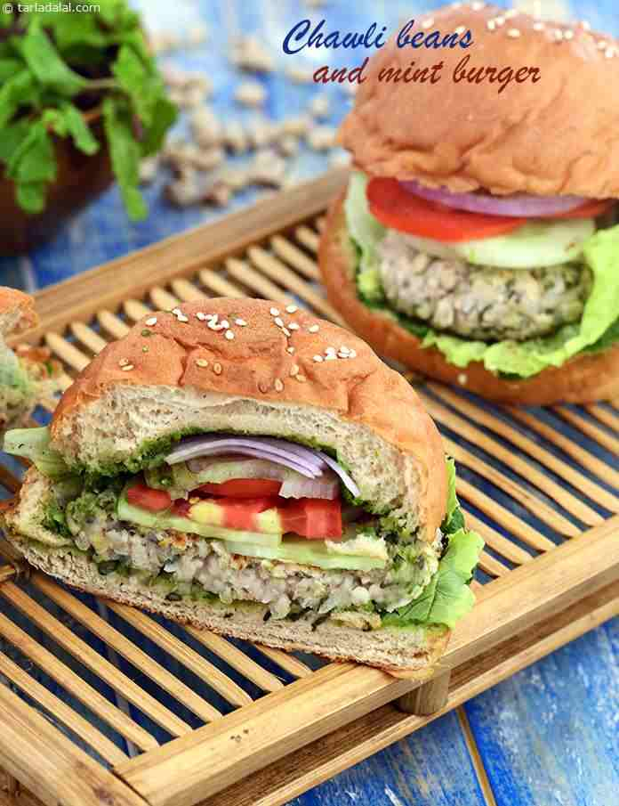 Chawli Beans and Mint Burger