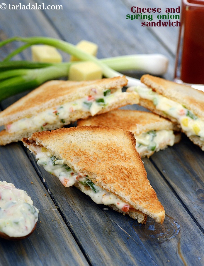 Cheese and spring onion sandwich recipe sandwich recipes by by tarla dalal cheese spread and mayonnaise make an exciting stuffing for sandwiches together with crunchy capsicums and spring forumfinder Image collections