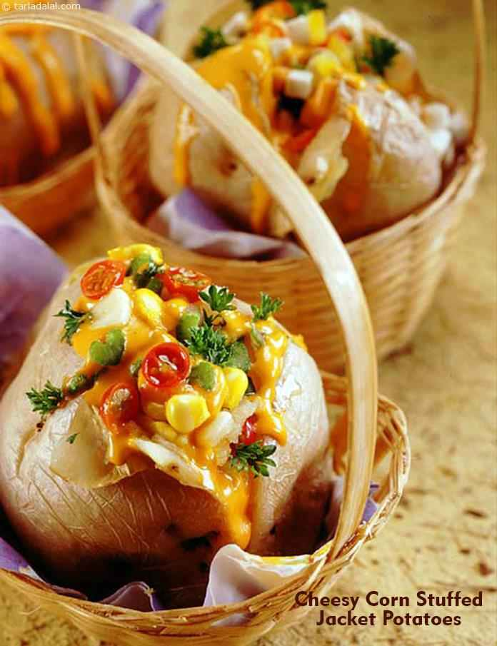 cheesy corn stuffed jacket potatoes quick snacks recipe