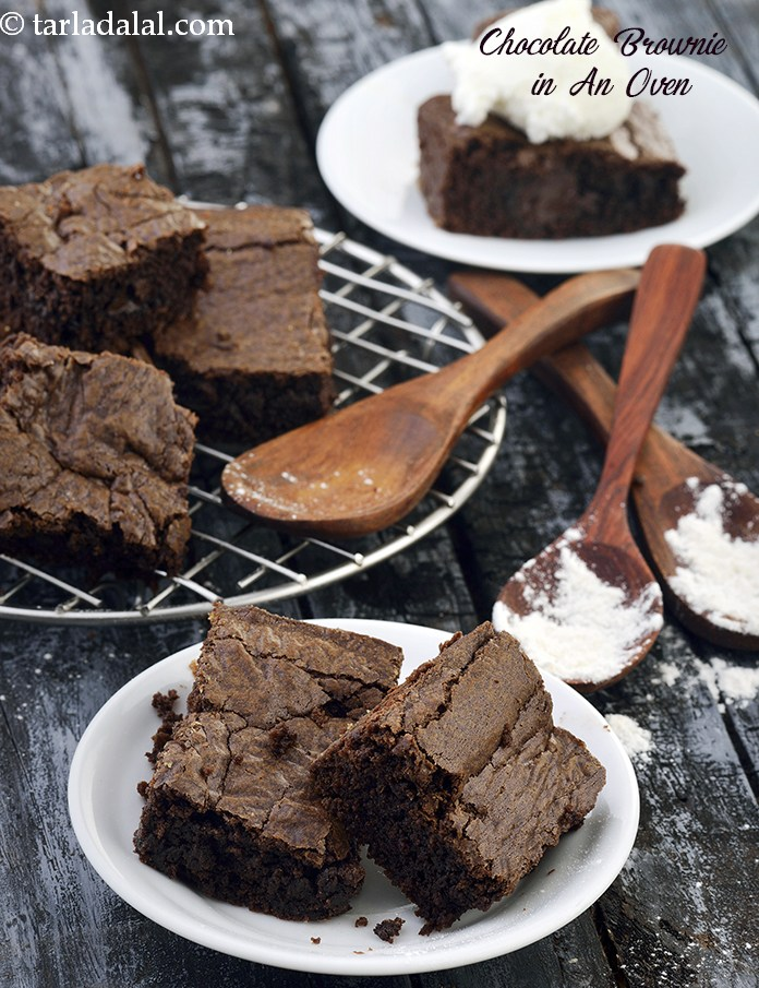 Chocolate Brownie in An Oven, Eggless Chocolate Brownie