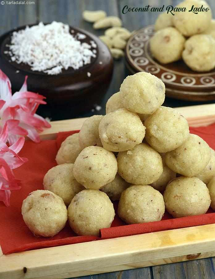 Coconut and Rava Ladoo  ( Laddu)