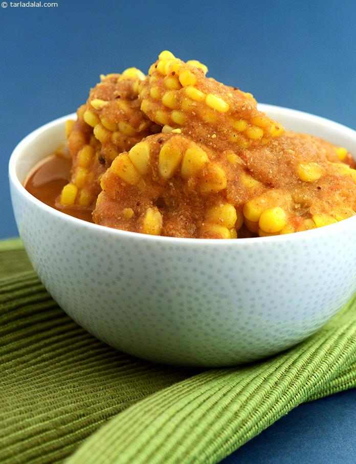 Corn on the cob curry recipe curries recipes kadhis recipes by by tarla dalal corn on the cob curry succulent corn cob roundels in a spiced forumfinder Images