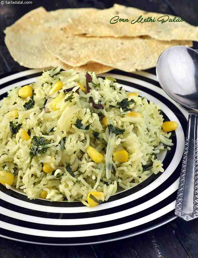 Corn Methi Pulao ( Microwave Recipe )