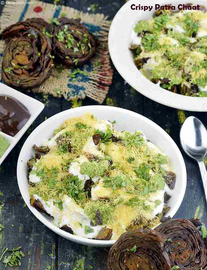 Crispy Patra Chaat, Patra Chaat with Curds and Chutneys