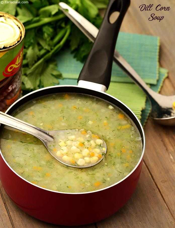 Dill has a distinct and unique flavour, which goes very well with cream-style corn. The addition of chopped carrots, onions and celery sautéed in butter imparts a delightful crunch and buttery touch to the Dill Corn Soup.