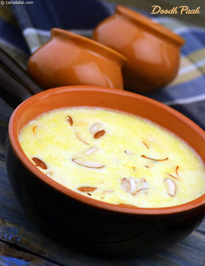 Doodh paak is a semi-thick mithai, brimful with the goodness of milk. The milk is simmered for a while; then the rice is added and simmered till cooked. As the rice is cooked completely in the milk, it imbibes a luxurious flavour and aroma.