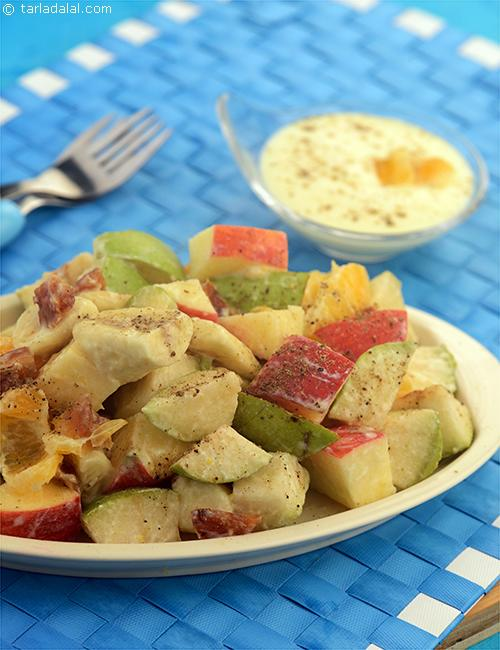 Pear, Apple and Date Salad with Orange Dressing, this salad is a good source of iron, vitamin c, calcium and carbohydrate which is the source of instant energy.