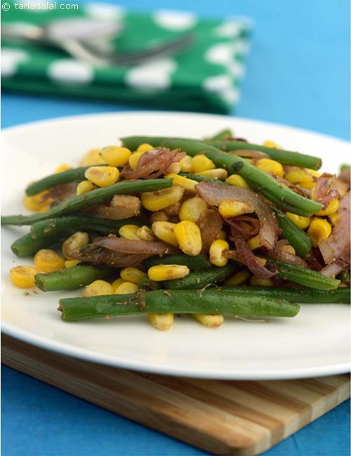 French Bean and Corn Stir Fry, a simple stir fry where you can taste the flavour of corn and french beans in every bite.