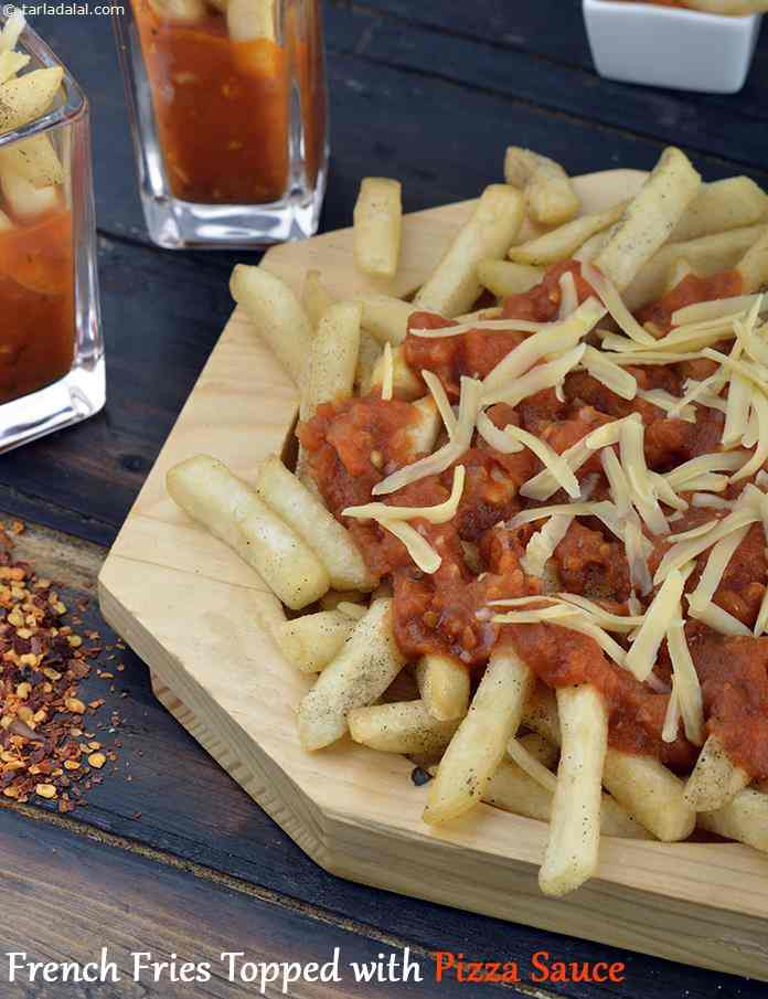 French Fries Topped with Pizza Sauce