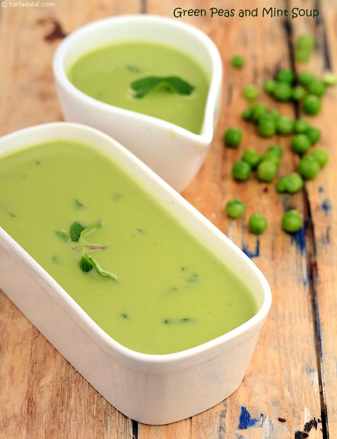 This versatile, pale-green coloured soup can be served chilled in summer and hot in winter. The tinge of mint adds class to this otherwise simple soup. This easy-to-make soup is an apt choice to satisfy sudden hunger pangs between meals.