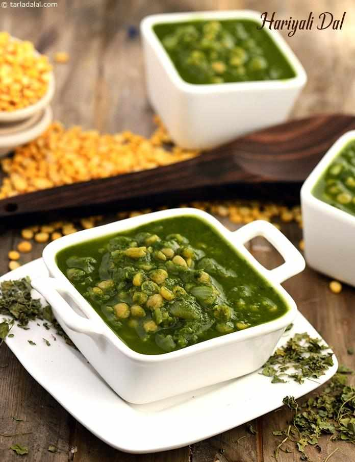 Hariyali Dal, spinach and chana dal complement each other perfectly in this aromatic dish which is an excellent source of protein, iron, vitamin A and calcium.