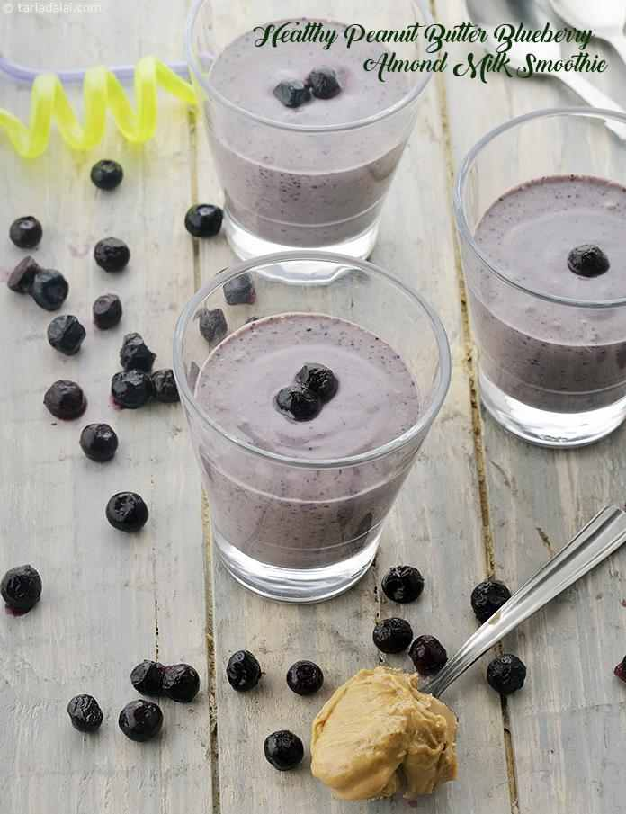 Healthy Peanut Butter Blue Berry Almond Milk Smoothie