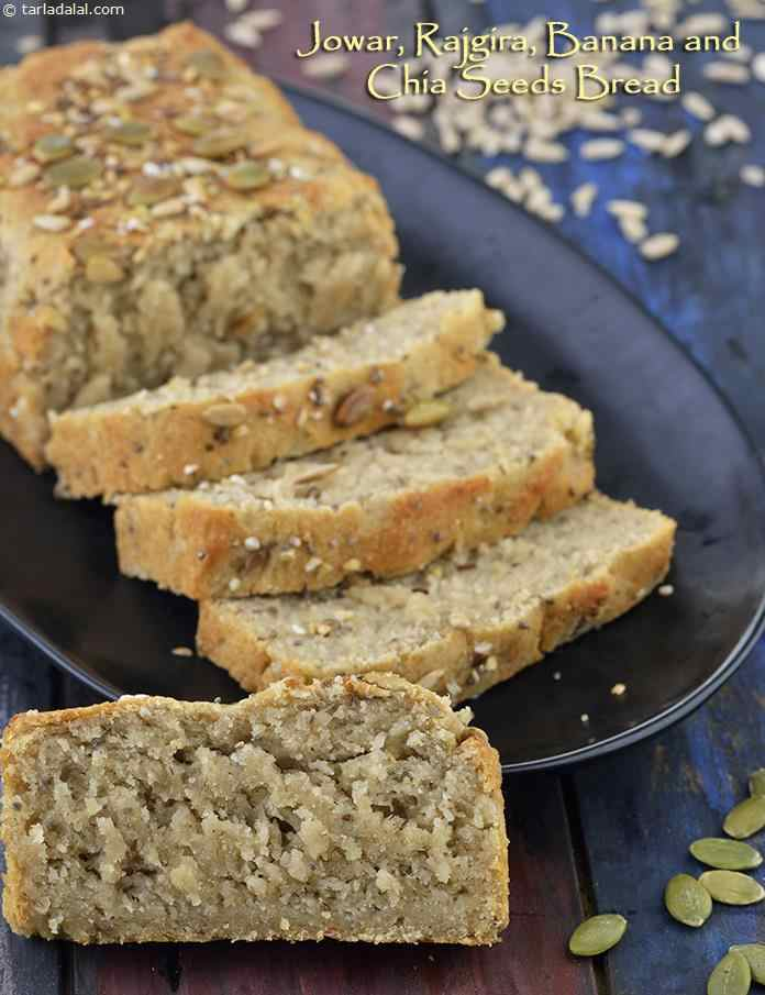 Jowar, Rajgira, Banana and Chia Seeds Bread