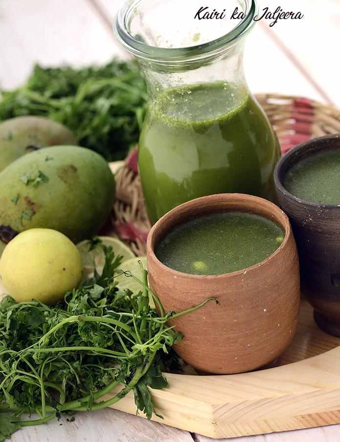 Made with raw mangoes, coriander, mint and spice powders, this Kairi ka Jaljeera tastes similar to pani puri ka pani, and is absolutely refreshing when served chilled.
