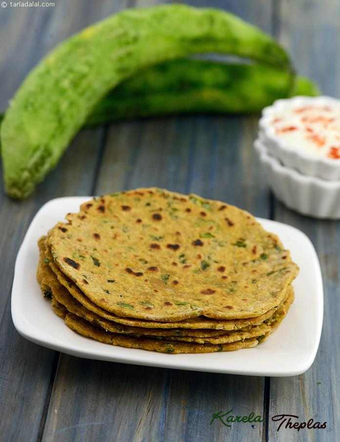 Karela Theplas, karela is extremely beneficial for diabetics and one can enjoy it more if you acquire the taste for it. This innovative recipe makes use of the peels of the karela which we usually throw away.
