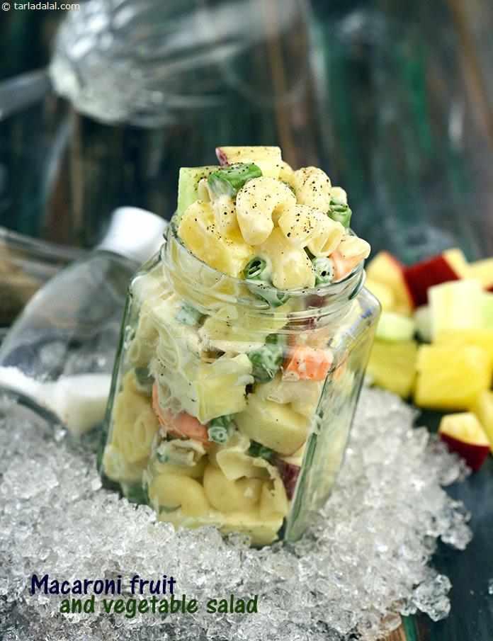 Macaroni Fruit And Vegetable Salad Recipe Tarla Dalal