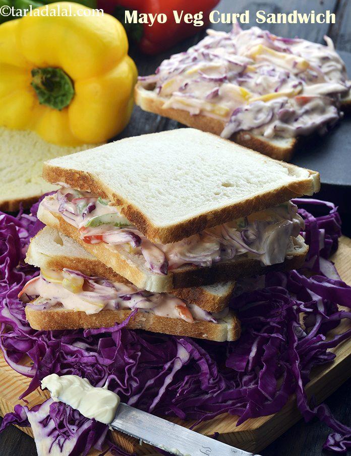 Veg Curd Sandwich Recipe Veg Curd Sandwich With Mayo