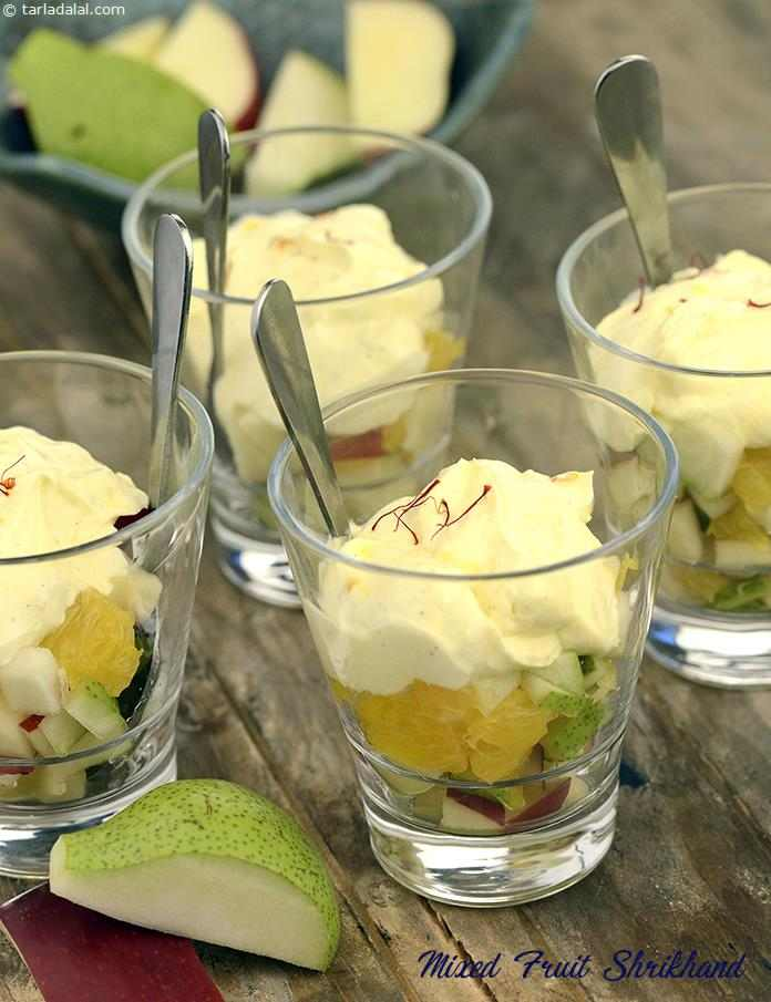 This delectable Mixed Fruit Shrikhand keeps the fat in check by using low-fat curds and replacing sugar with sugar substitute.