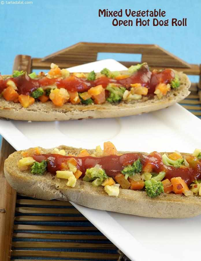 mixed vegetable open hot dog roll recipe. Black Bedroom Furniture Sets. Home Design Ideas