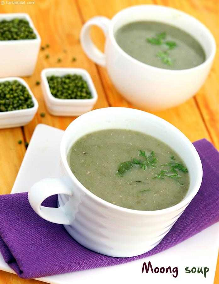 Moong Soup, mildly flavoured with a tempering of cumin and curry leaves, this pleasant soup is made diabetic friendly by using just two teaspoons of oil. This protein-rich soup is nice to have for everybody, even when you are feeling fit and fine.