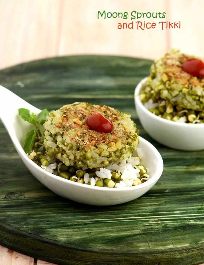 Moong Sprouts and Rice Tikki