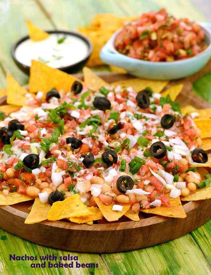 Nachos With Salsa And Baked Beans Recipe