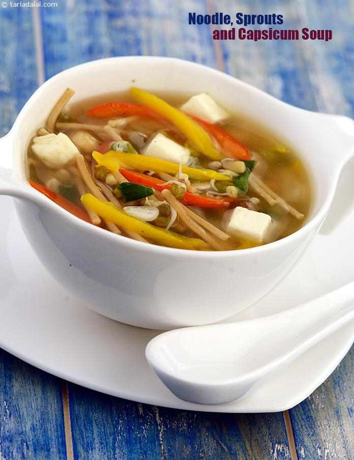 Noodle, Sprouts and Capsicum Soup, the use of plenty of vegetables and tofu lends an exotic flavour and lots of antioxidant i. e. Vitamin c, which helps fight infections.
