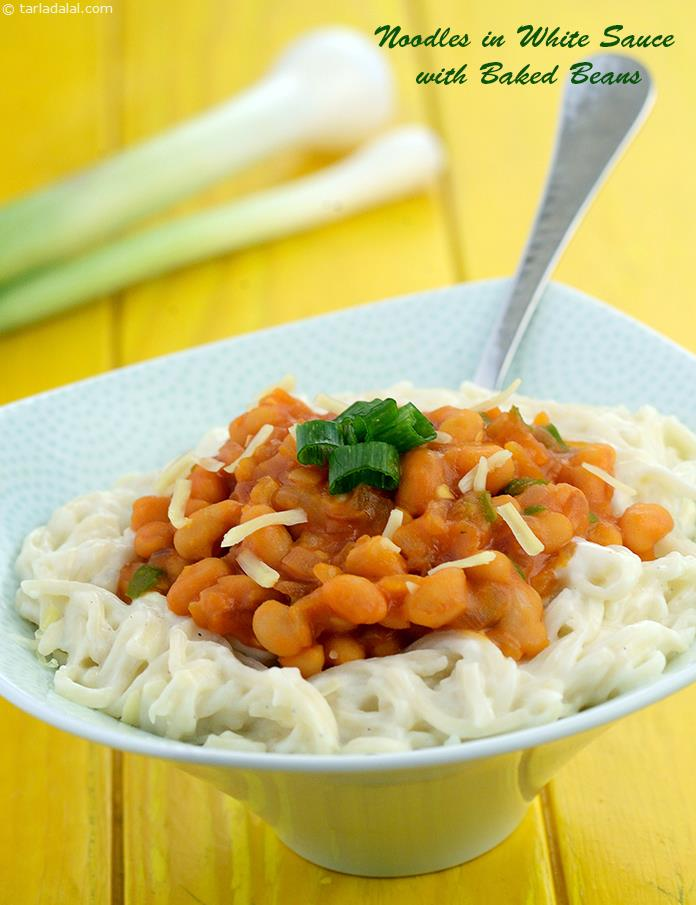 Noodles in White Sauce with Baked Beans