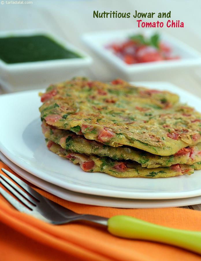 Nutritious Chila, traditionally, chila is a thin pancake made of gram flour, but this nutritious chila uses a healthy combination of maize, jowar and whole wheat flour making it a great source of protein and vitamin a.