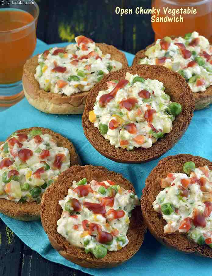 Open Chunky Vegetable Sandwich