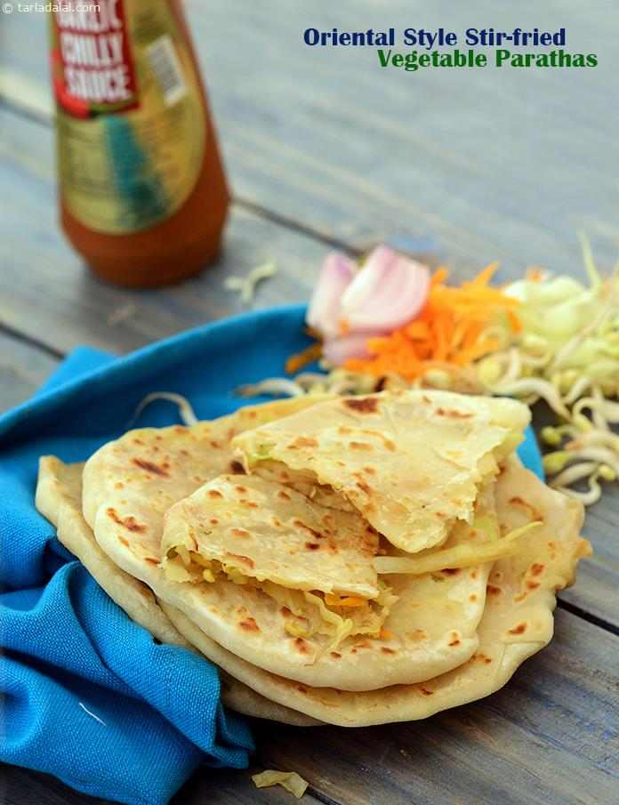 A novel paratha, stuffed with chinese stir-fried vegetables. While making the stuffing for the oriental style stir-fried vegetable paratha, make sure you do not over-cook the vegetables, to maintain the perfect stir-fry texture and flavour.