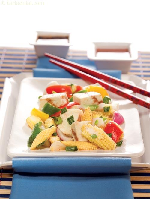 Paneer and baby corn stir fry chinese cooking recipe by tarla paneer and baby corn stir fry chinese cooking forumfinder Images