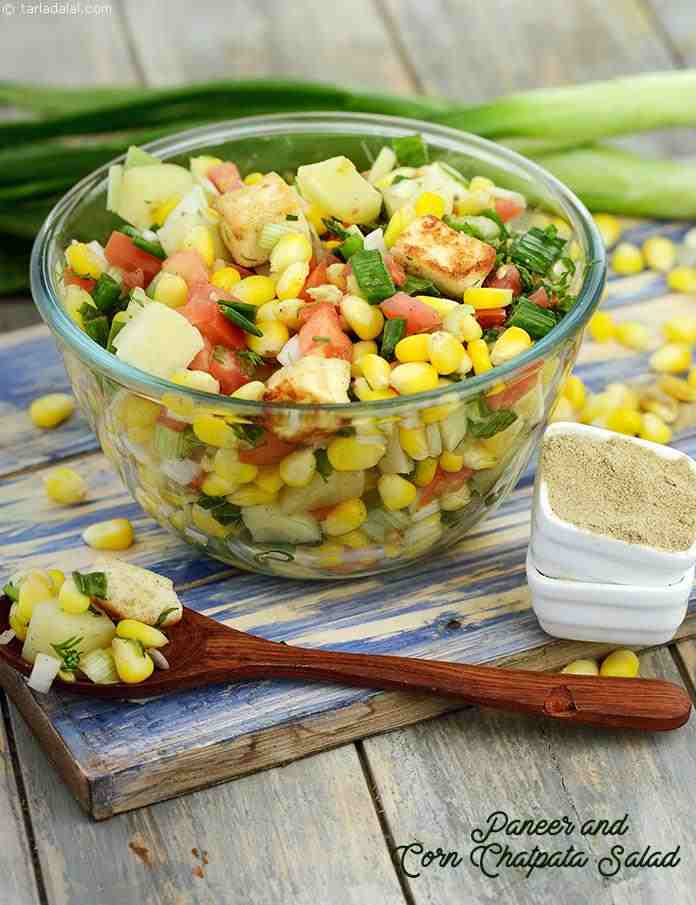 Paneer and Corn Chatpata Salad, sauteed paneer combined with juicy corn, tangy tomatoes, chewy potatoes and crispy spring onions, this lemon tinged salad is made all the more exciting by the addition of peppy chaat masala.