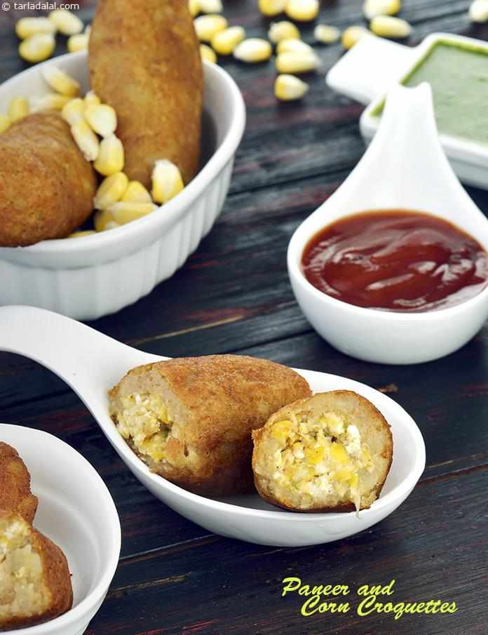 Paneer and Corn Croquettes