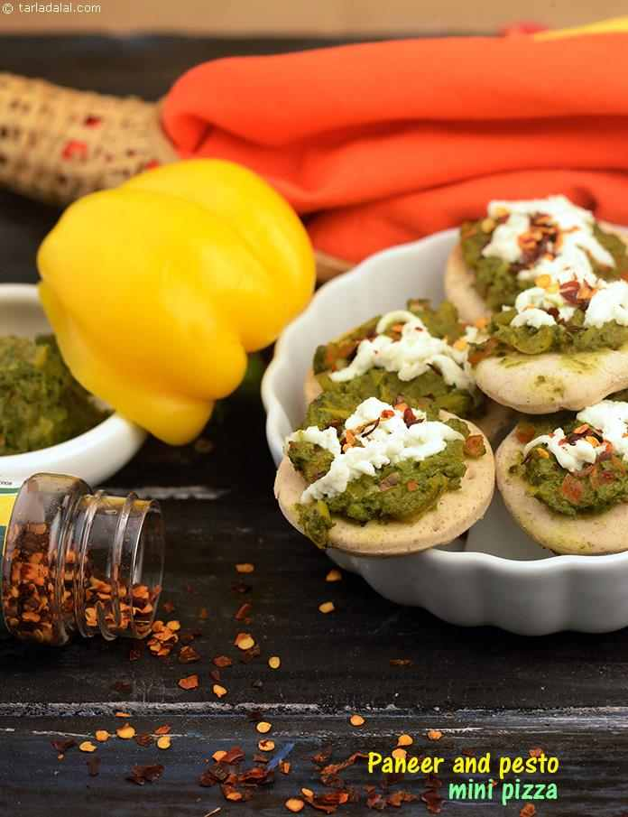 Paneer and Pesto Mini Pizza
