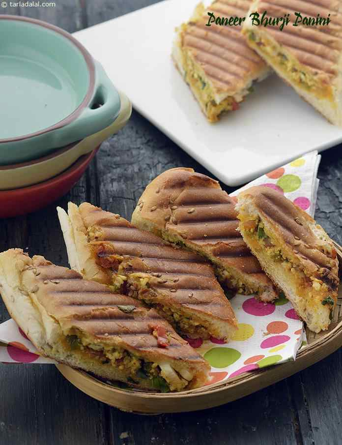 Paneer Bhurji Panini, Cottage Cheese Panini