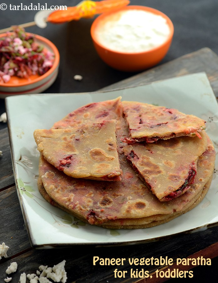 Paneer Vegetable Paratha for Kids, Toddlers