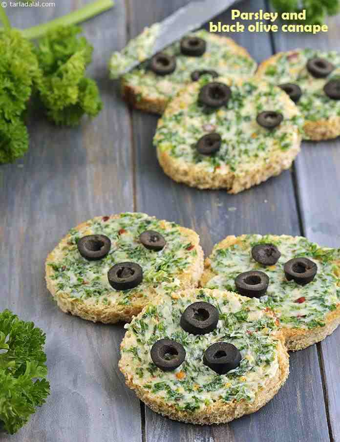 Parsley and Black Olive Canape